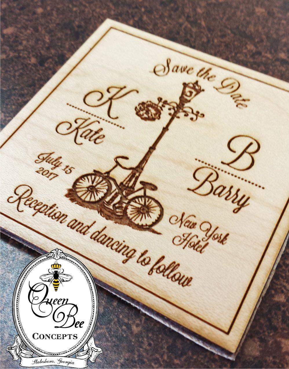Vintage Save the Date Wooden Magnet - Laser Engraved - Rustic ...
