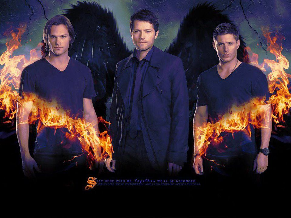 Sam, Cas and Dean  are   Jared Padalecki  & Jensen Ackles  &  Misha Collins is Cas TV Show Supernatural   2013