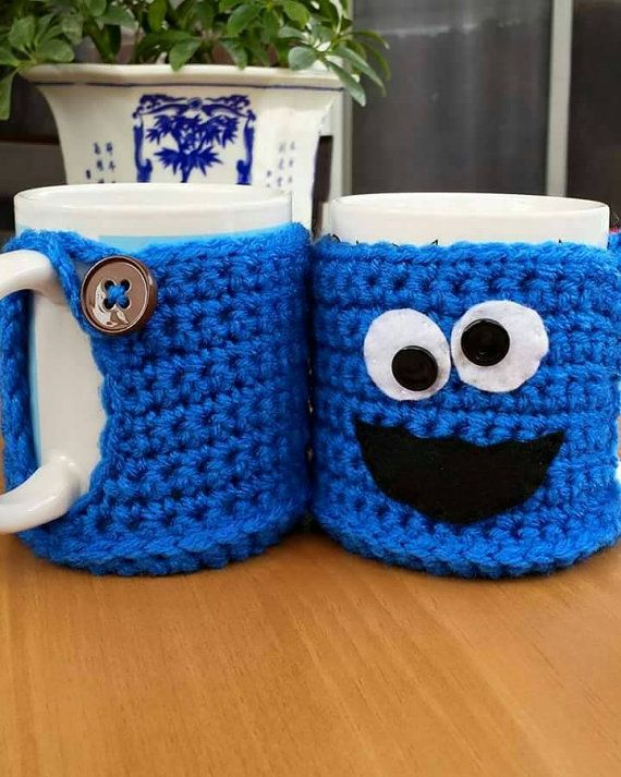 Crochet Cup Cozy - crochet mug cover - winter - mug cover - cartoon ...