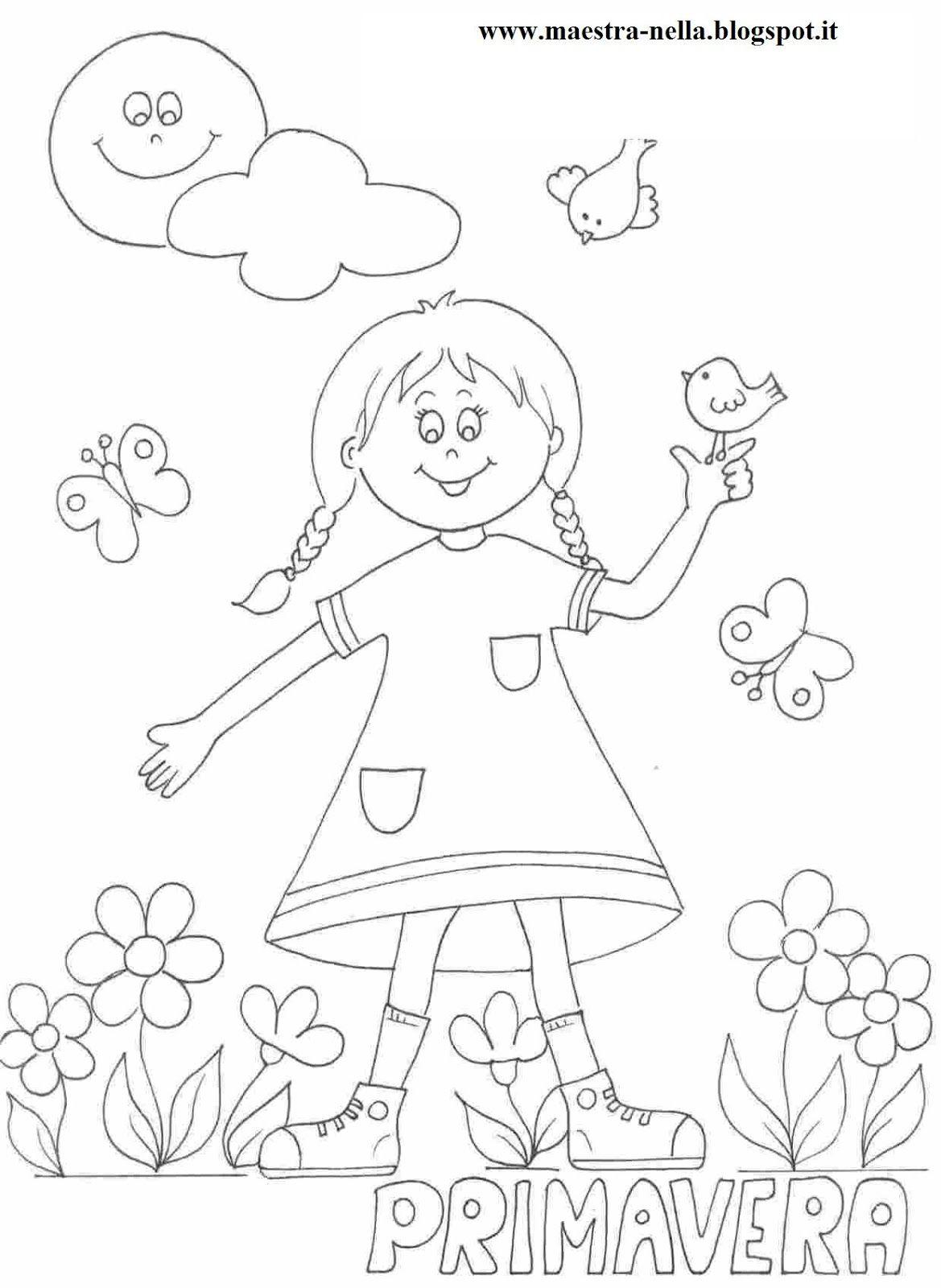 Disegni idee e lavoretti per la scuola dell 39 infanzia e - Pagine da colorare di scena di primavera ...