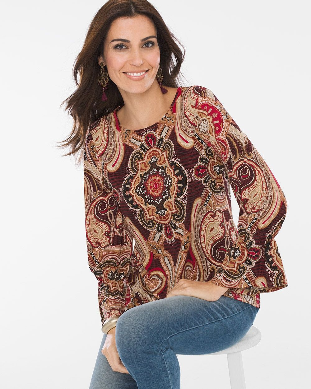 9be2e54df Medallion Paisley Top in 2019   Products   Tops, Blazer outfits, Paisley
