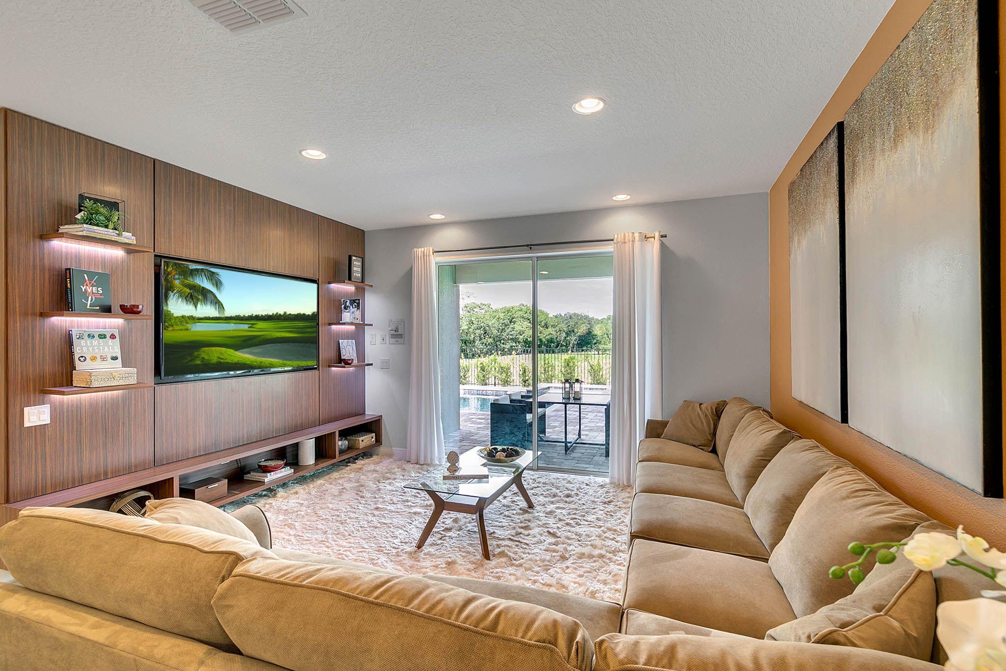 Arq design usa vacation home living room wood panel beige