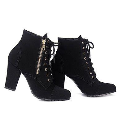 ba86fa8fc Bota Coturno Feminina Dariely - Preto | Look inverno | Shoes, Boots ...