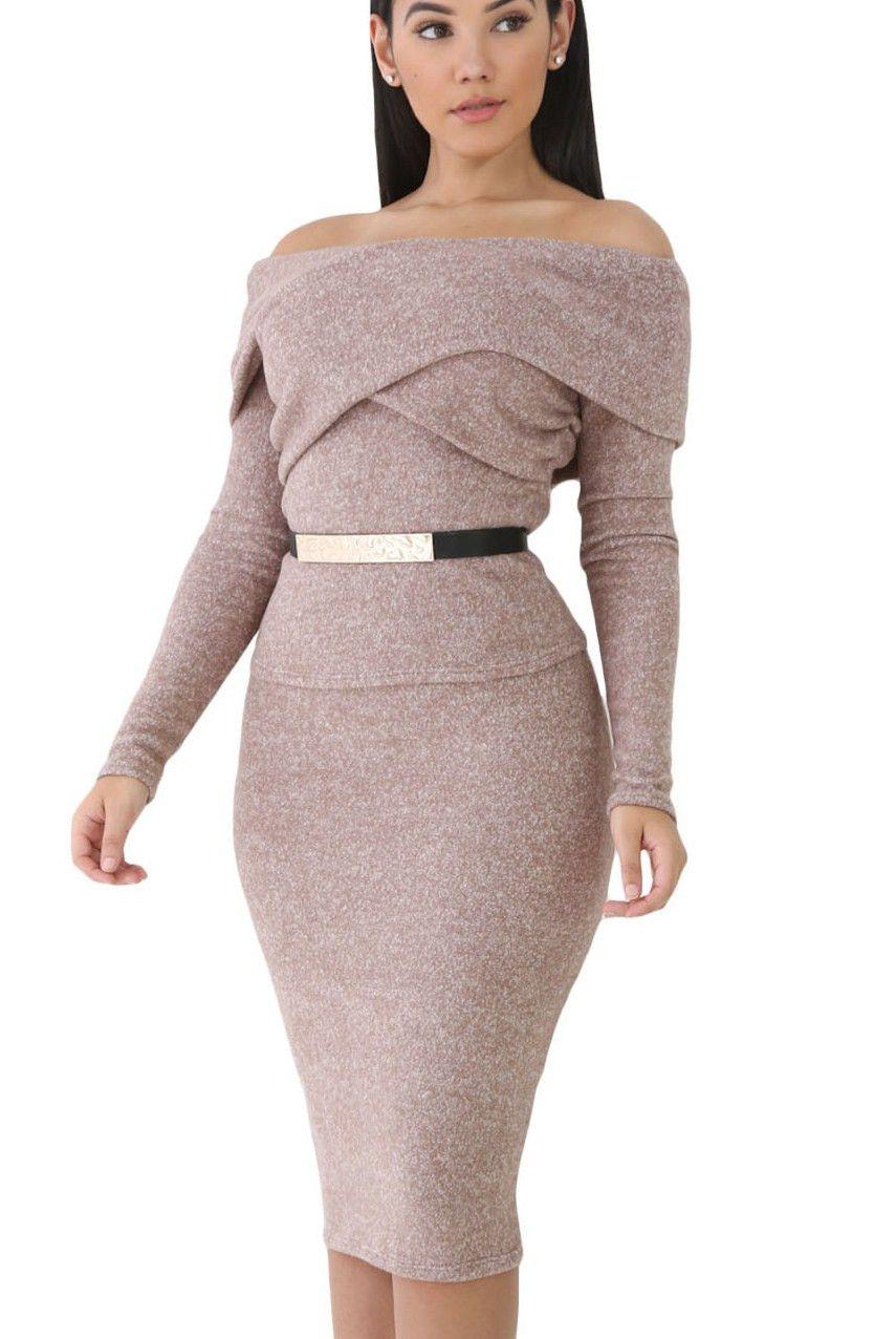 Prix 20 95 Ensemble Jupe Et Haut Laine Foldover Epaules Denudees Manches Longues Pas Cher Www Modebuy Com Modebuy Modeb Clothes Design Fashion Fashion Post