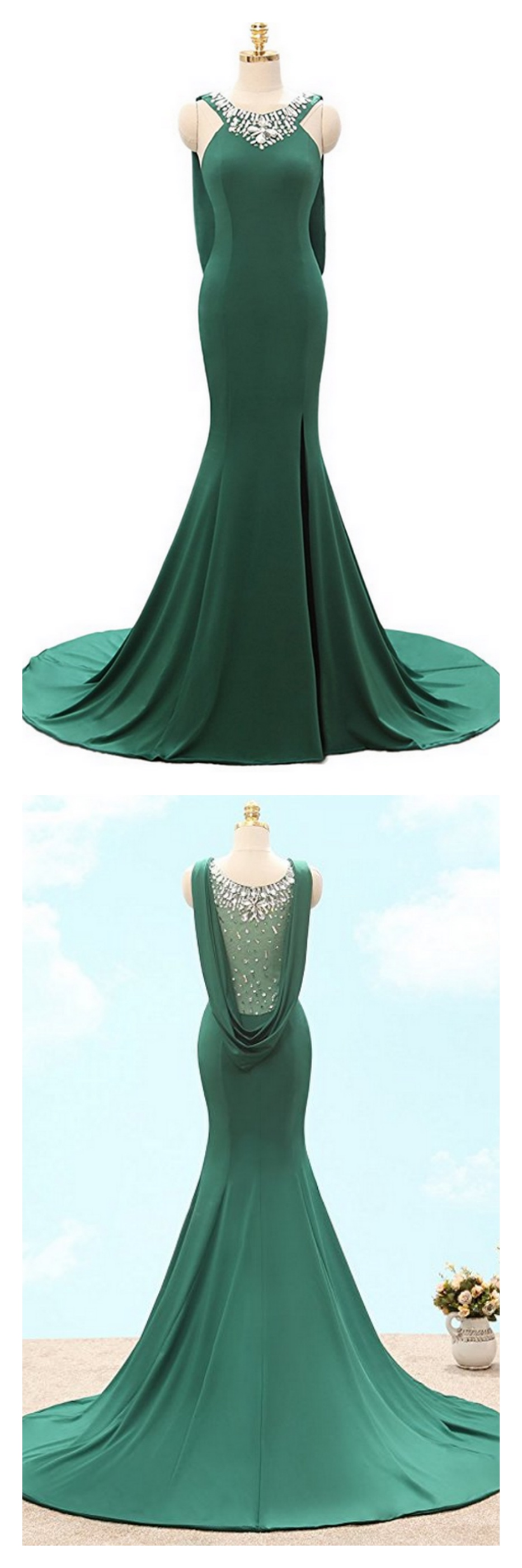 Dark green beading long mermaid prom dresses with slited
