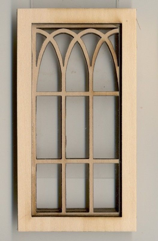 2117 wooden dollhouse miniature 1:12 scale USA made Gothic Arch Window
