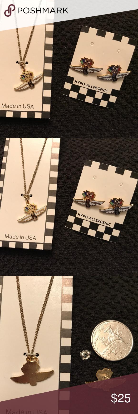 Vintage Indy 500 Souvenir Necklace Earring Set Vintage Jewelry Sets Necklace Earring Set Earring Set