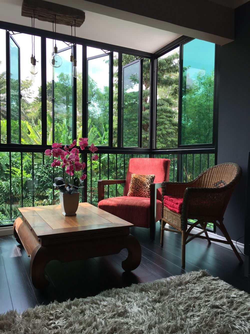 Living Room Balcony Design: Balcony Covert To Living Room With Black Laminated Floor