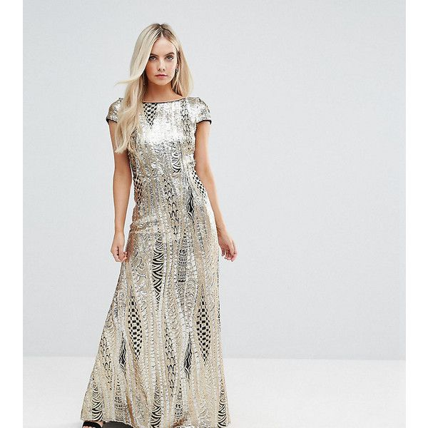 TFNC Petite Allover Sequin Maxi Dress with Fishtail ($65) ❤ liked ...