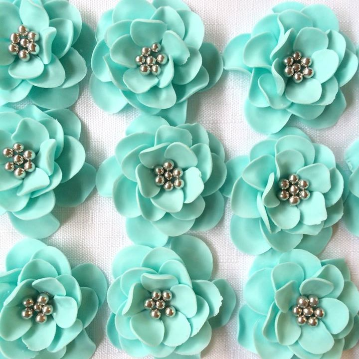Fondant Flowers 12 Vintage Teal Silver Edible Cake Topper Cupcake Toppers Decorations Wedding Bridal Shower