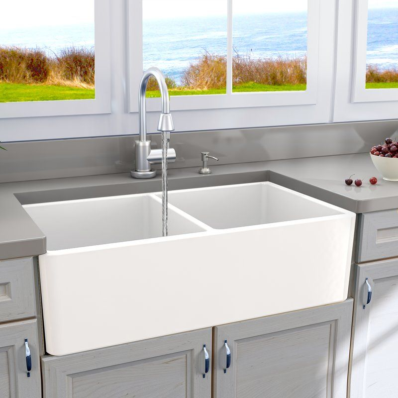 Abia 33 X 18 Double Basin Farmhouse A Kitchen Sink