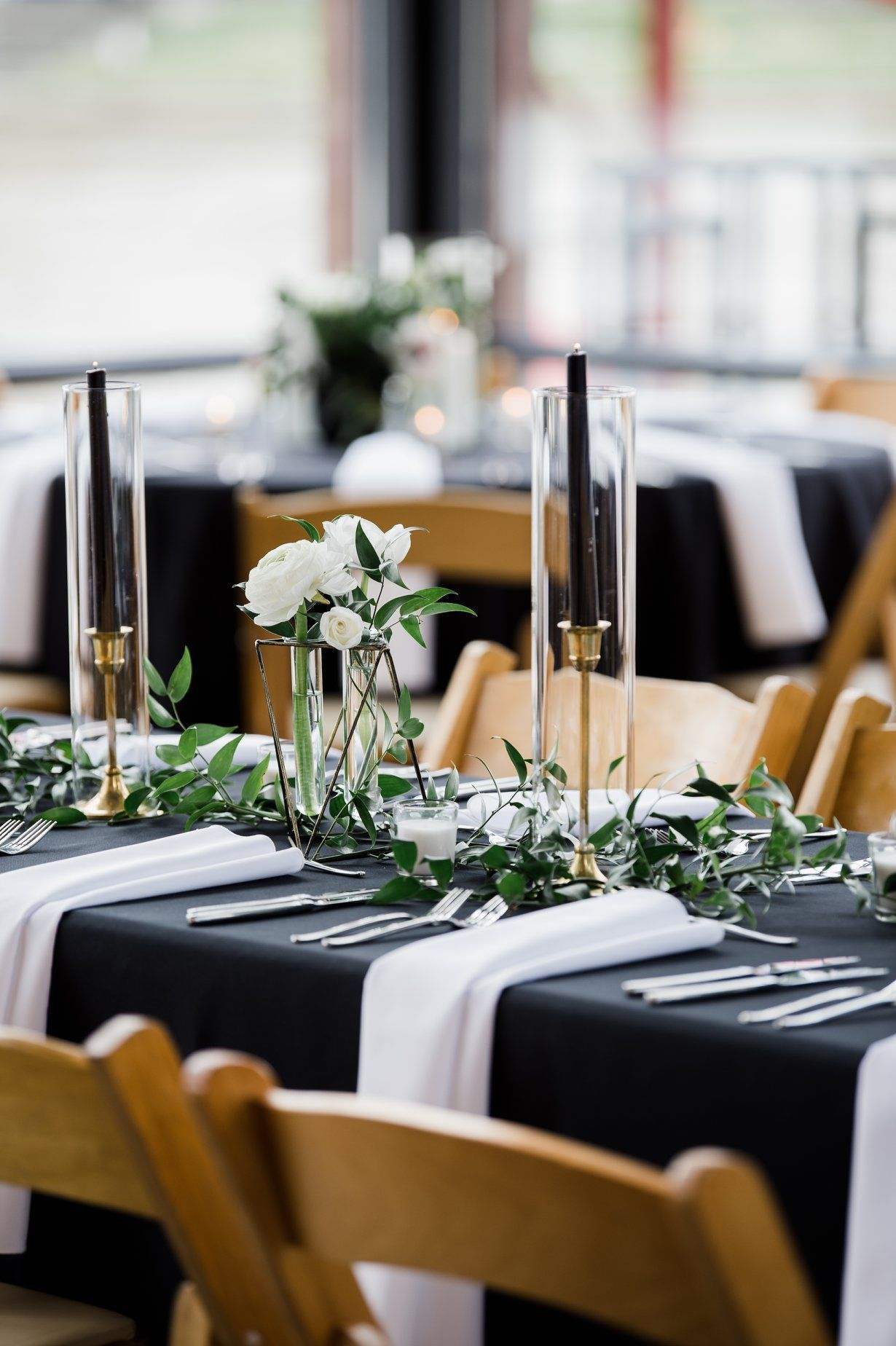 Modern Neutral Black and White Wedding Reception ...