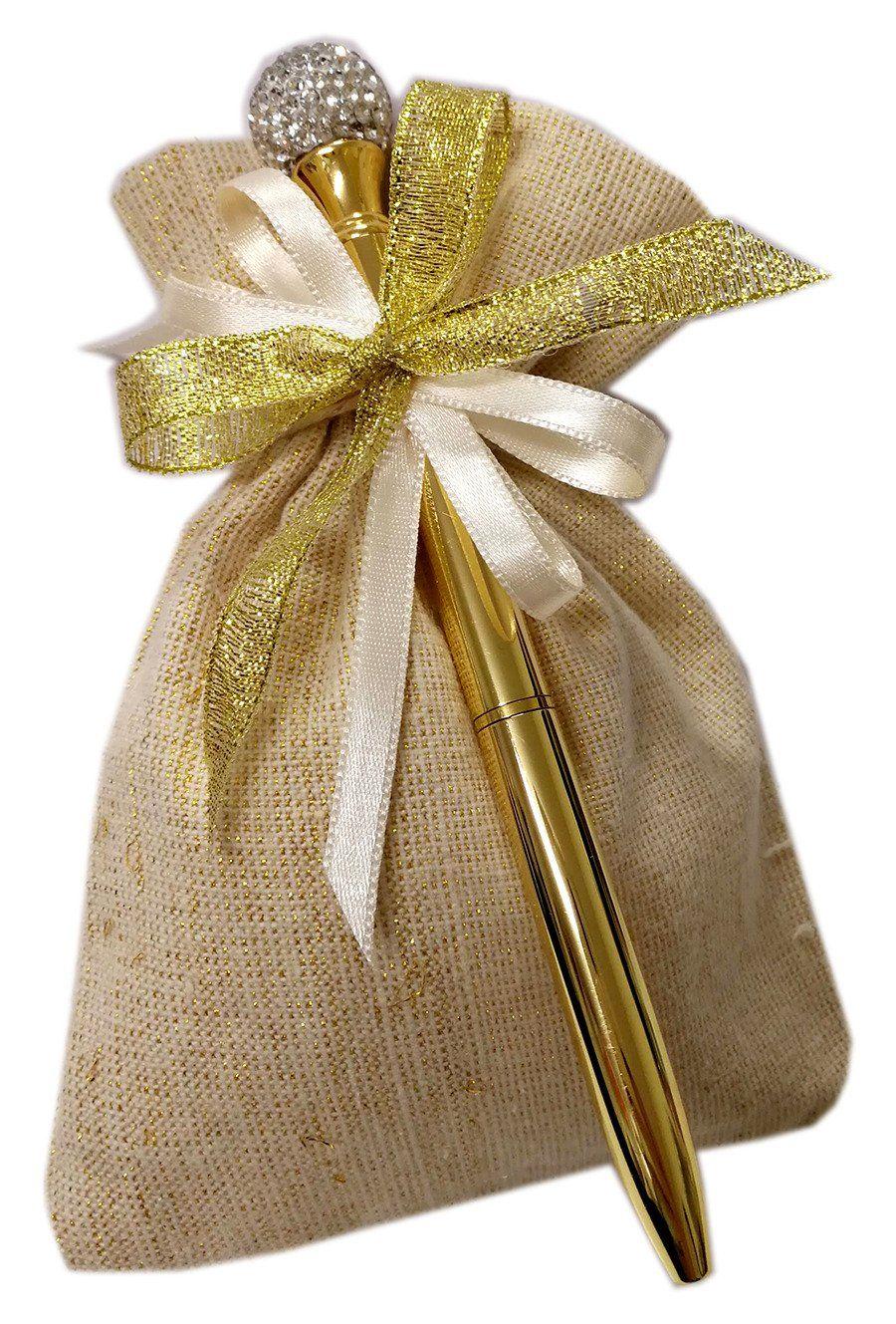 Bomboniere Nozze Oro. Penna con strass confezionata con sacchetto e  confetti. Bellissima bomboniera per 8cea94f8f809