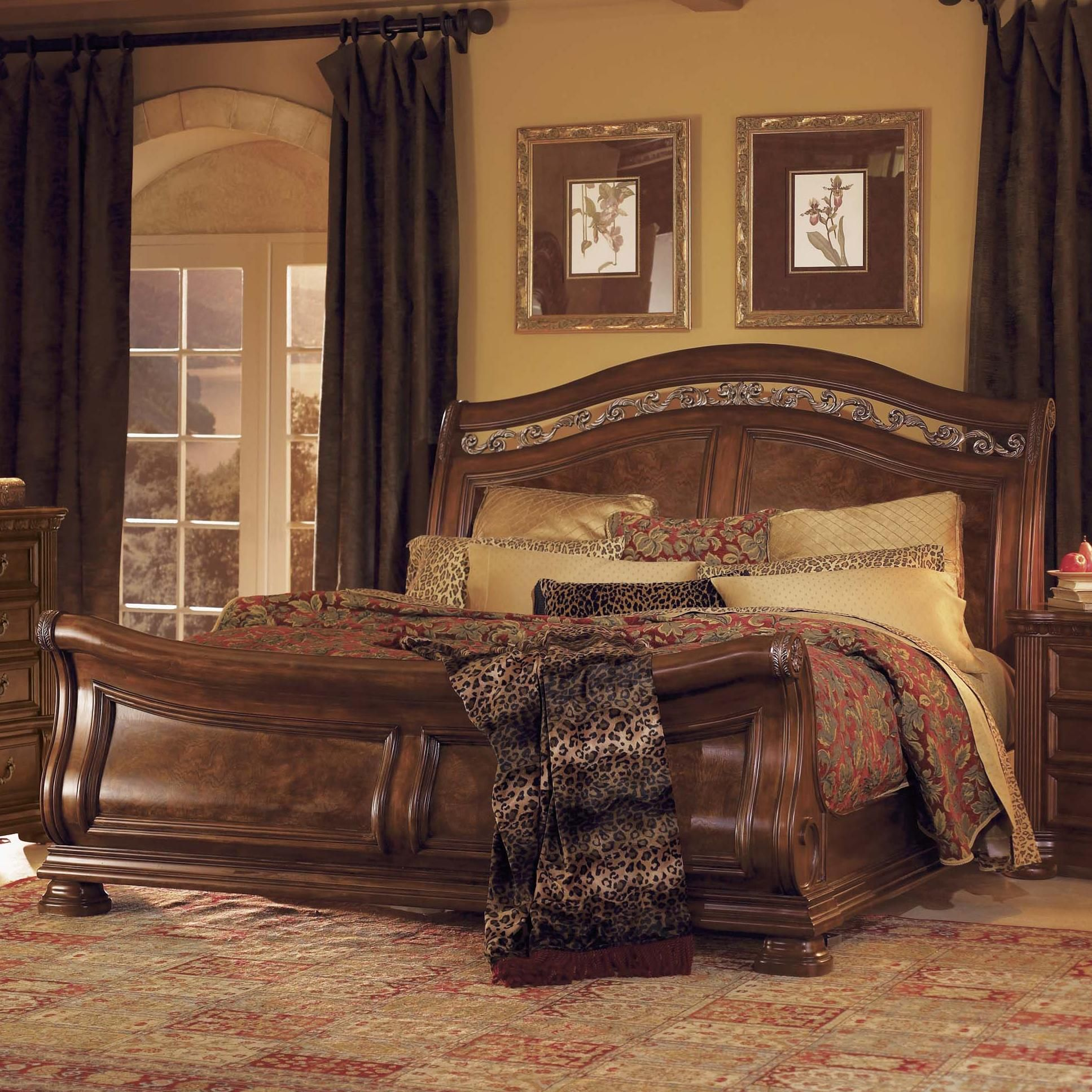 Granada king sleigh bed by flexsteel wynwood collection for King sleigh bed bedroom sets