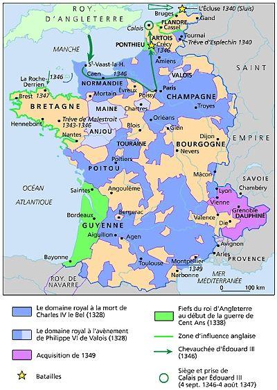 La Guerre De Cent Ans 1338 1350 Avec Images Carte