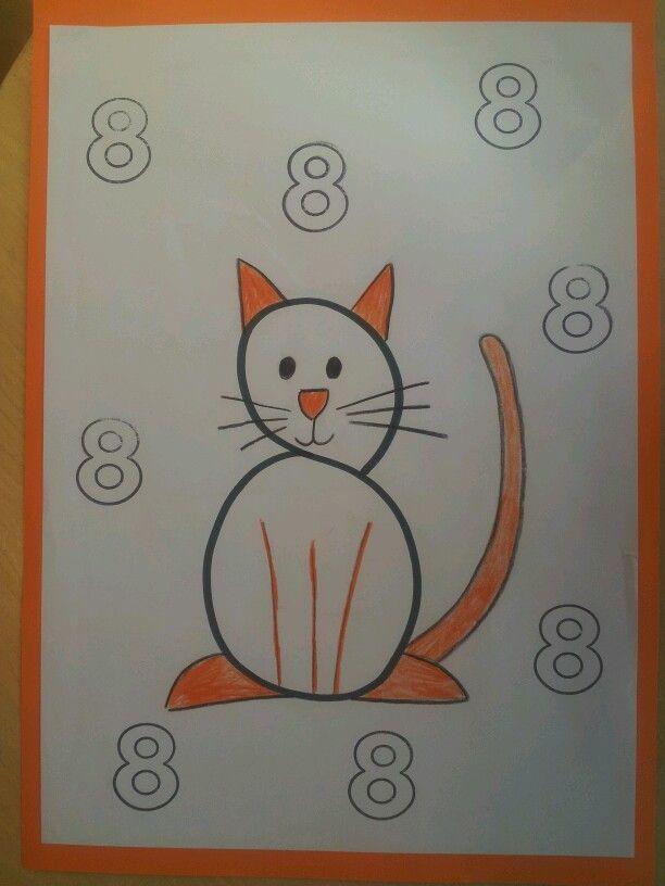 tekening maken bij cijfer 8 | cijfersymbolen - dibujos con numeros