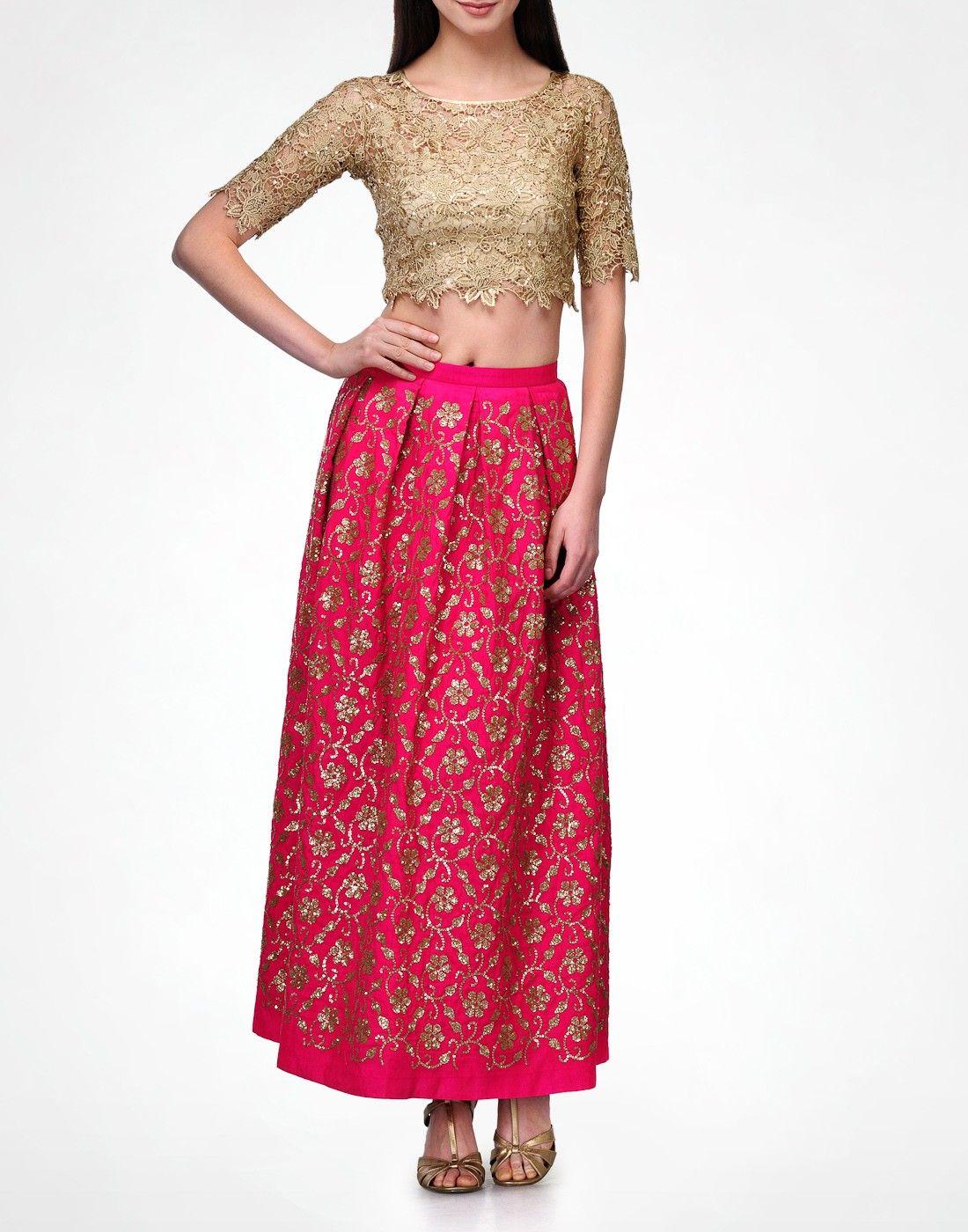 Sonal Kalra Ahuja Sequinned Phoolwati Fuschia Maxi Skirt -1175