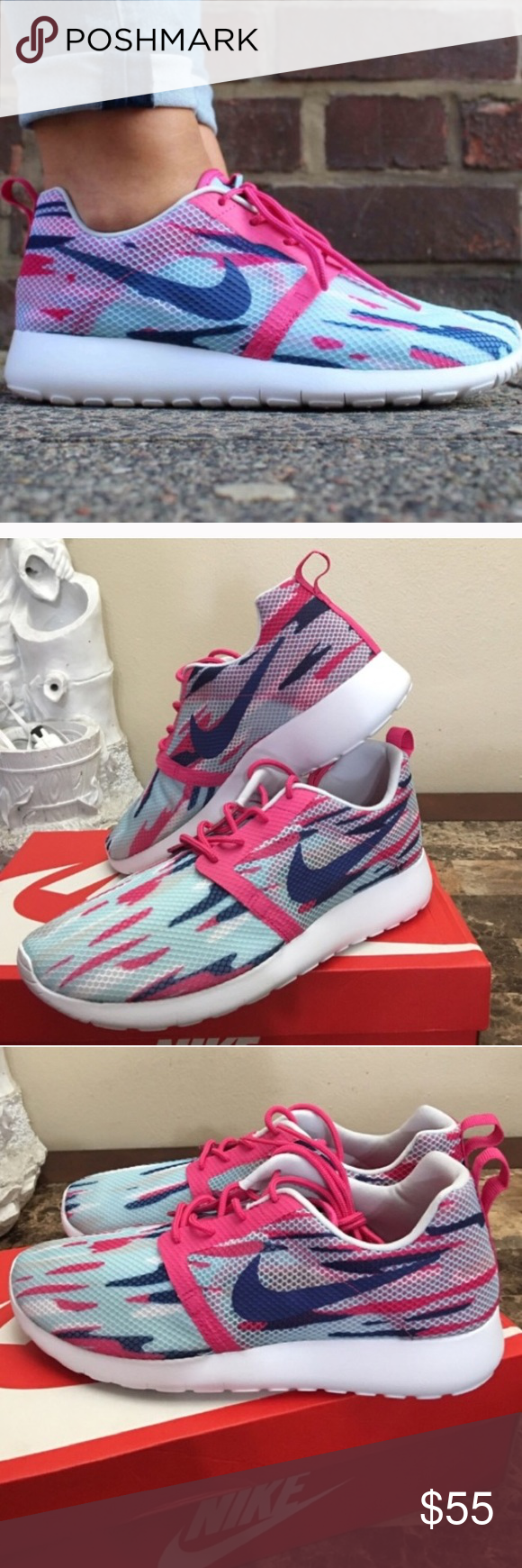 c52363870ecb NIKE ROSHE WOMENS SIZE 8 SHOES BLUE PINK WHITE Brand new without box. Shoes  are a youth size 6.5 which is a women s size 8. I have added a Nike  conversion ...