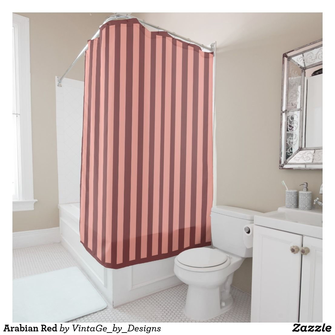 Arabian Red Shower Curtain Zazzle Com Striped Shower Curtains