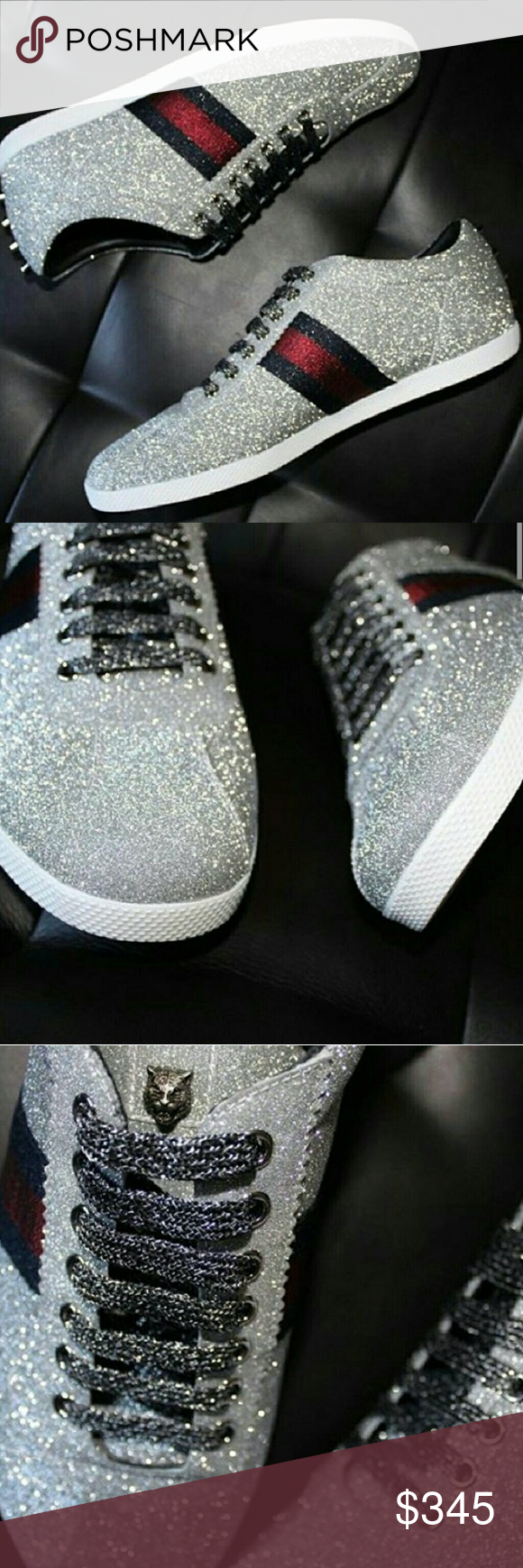 5b2769f05d3 Gucci glitter studded sneakers size 12 Low-top sneaker in a sparkling fabric  with Web