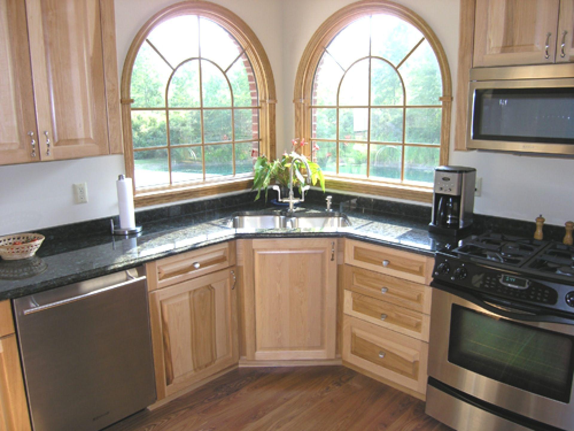 cute-design-corner-kitchen-sink-ideas-double-bowl-black ...