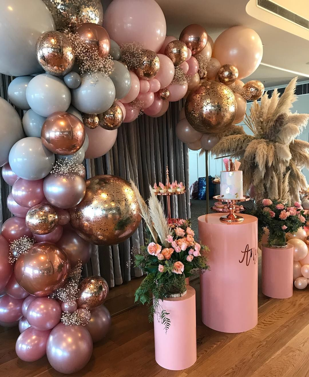 ANYA'S YOUNG WILD AND THREE.... stunning set up by Anya's mum @selinaStyling/ design @selinavasdevPlinths @styledbyemiliaBalloons @boutiqueballoonsmelbourneCake stands /arbour @willowtreeeventsVenue @royalmelbourneyatchsquadronCake / desserts @lamannapatisserie Decal and cake topper @
