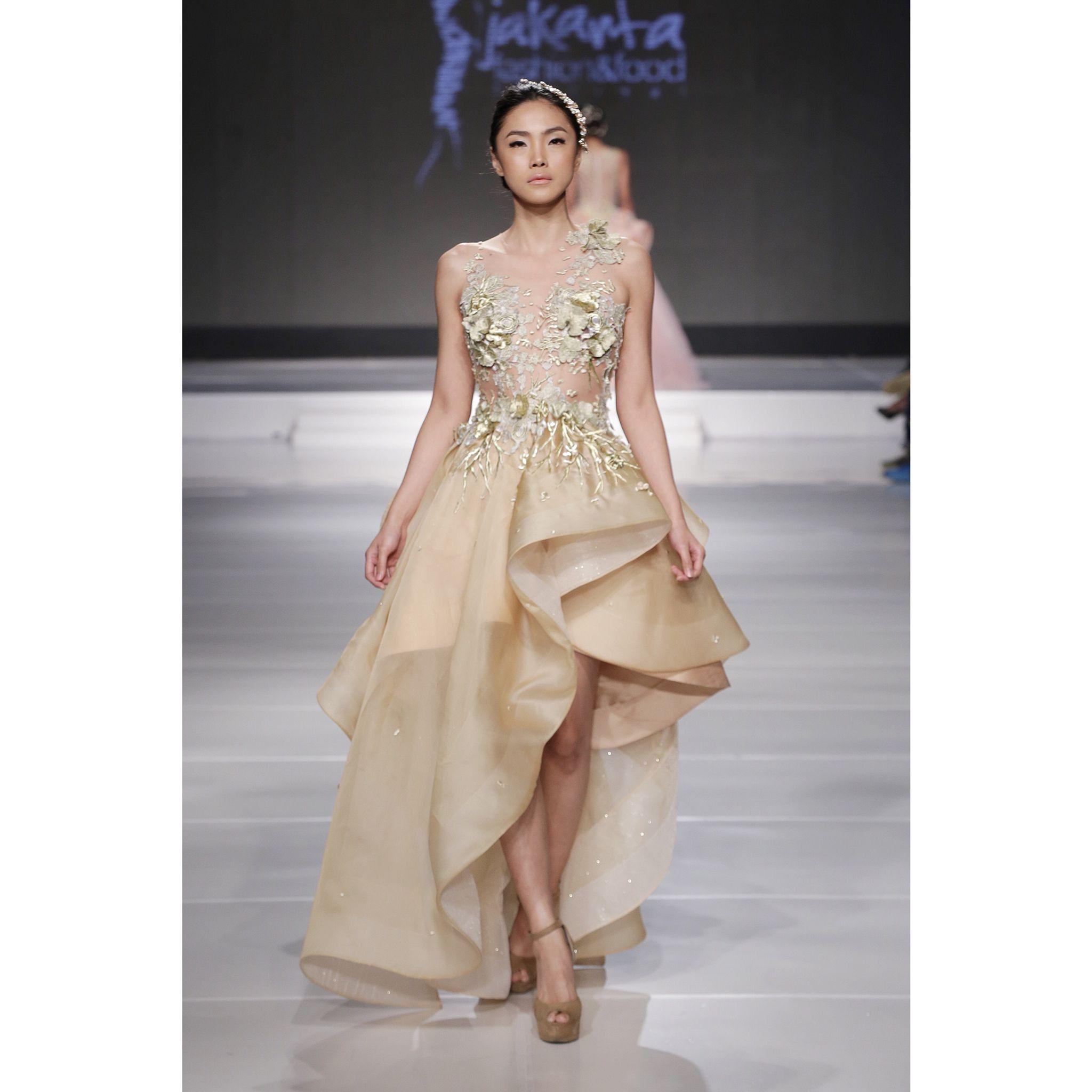 Designer Wedding Gown Rental: Transparent Short Gown In Golden Floral Embroidery