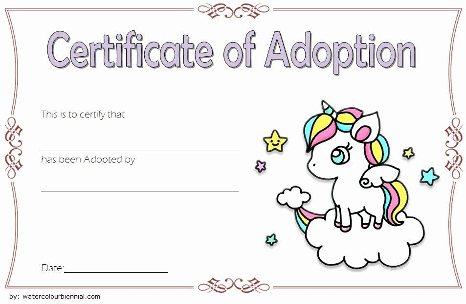 Dog Adoption Certificate Template Inspirational Unicorn Adoption