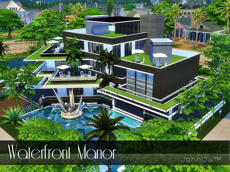 The Name Of This Mansion Is Waterfront Manor Found In Tsr Category Sims 4 Residential Lots Sims House Plans Sims Building Sims 4 House Plans