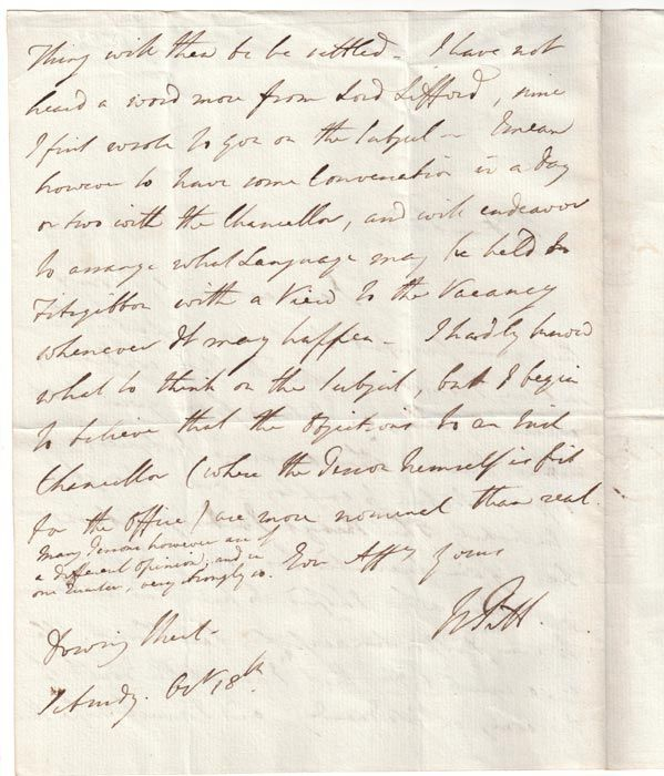 how to type a letter the back of pitt s letter dated 18 october 1788 william 1788