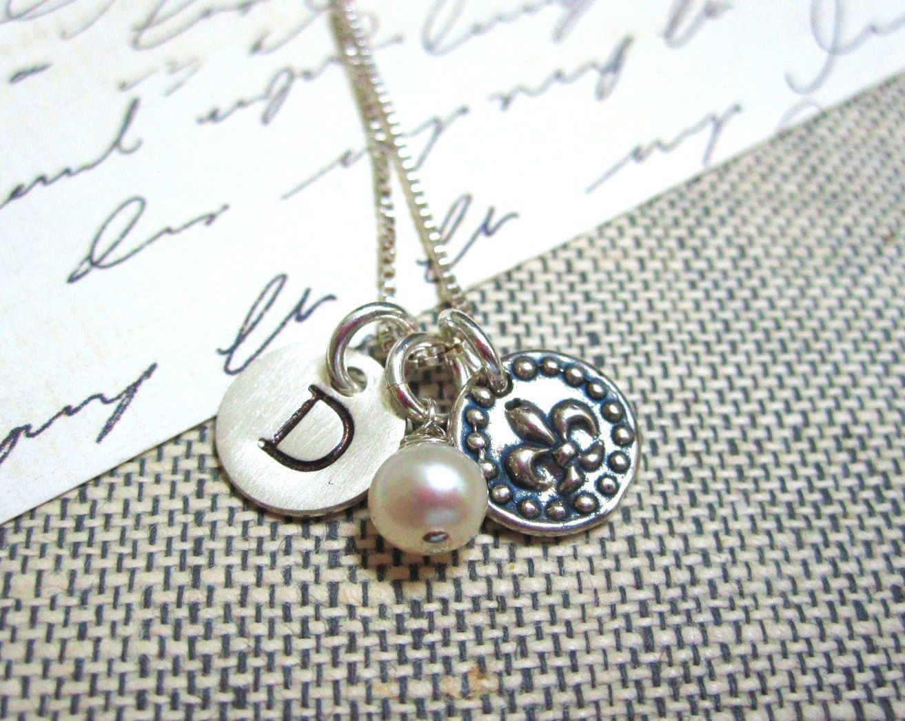 Fleur de lis Necklace Hand Stamped Initial Necklace by zbet