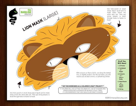 childrens party mask halloween mask lion printable by therasilisk