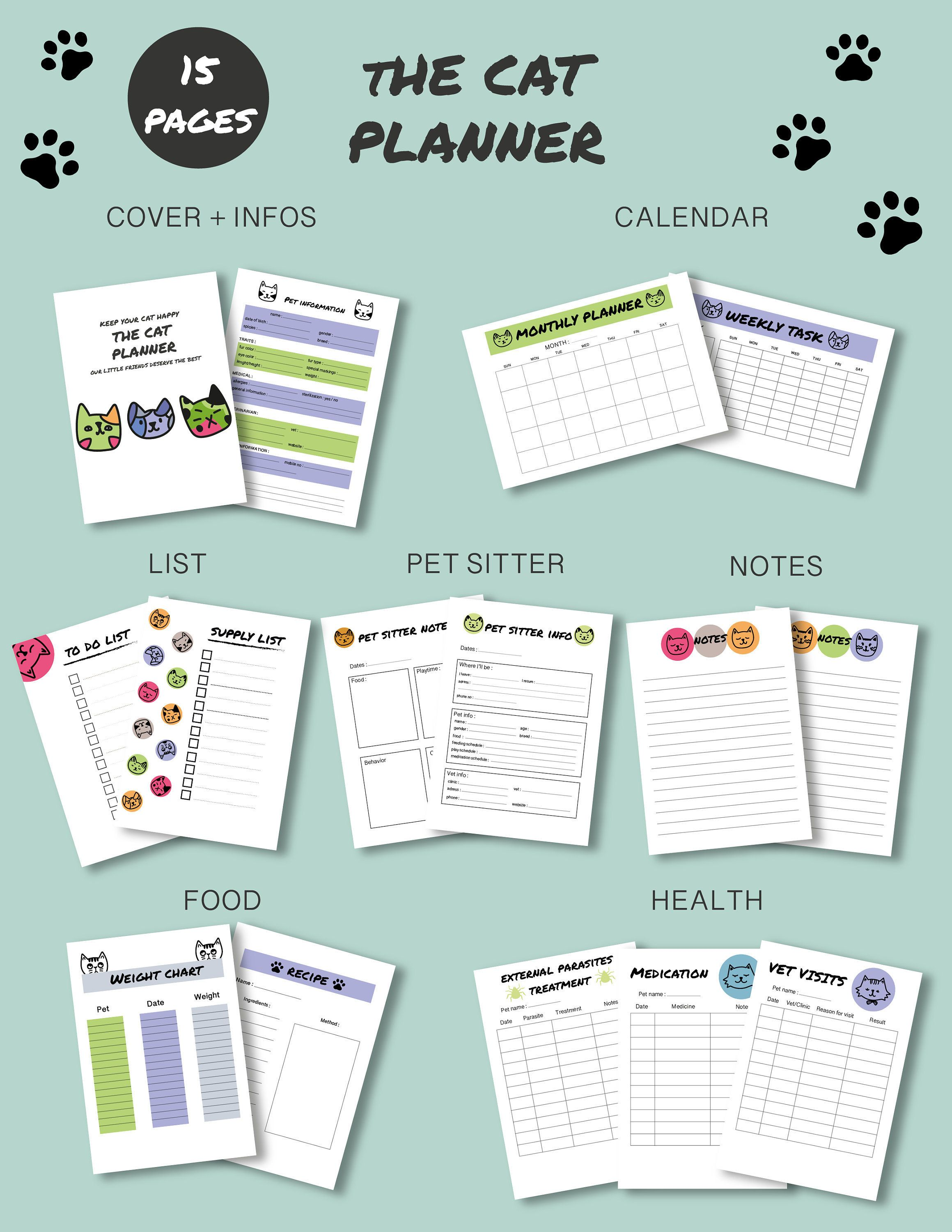 Cat Printable Planner For Pet Care Instant Download Pet Etsy In 2020 Printable Planner Pet Care Printables Planner