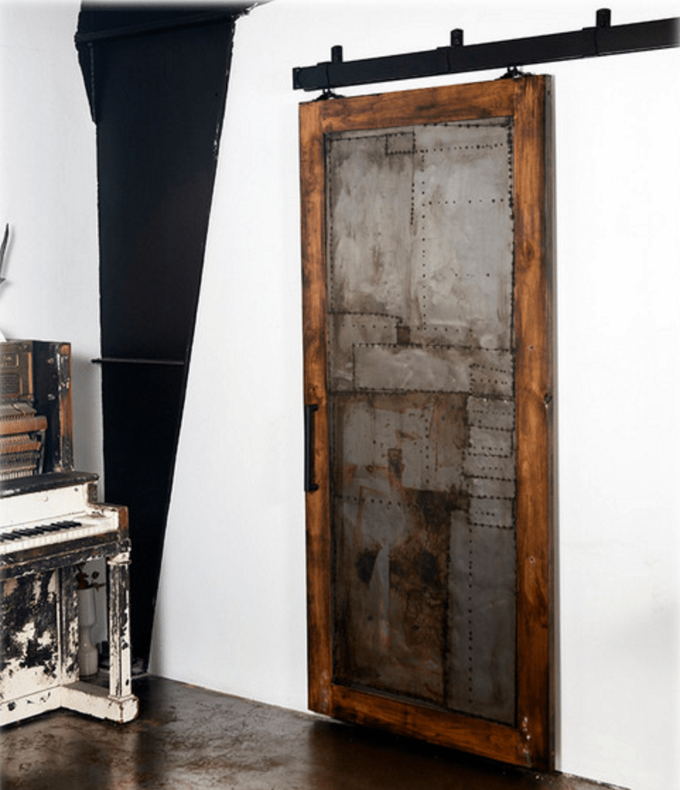 Scrap Metal Barn Door Houzz In 2020 Metal Barn Hanging Barn Doors Interior Barn Doors