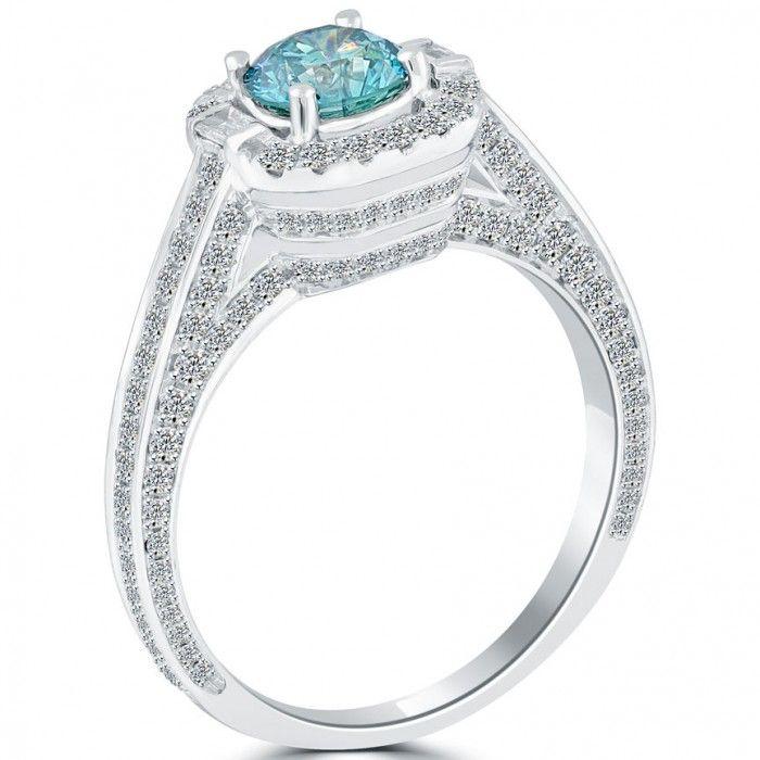 1.82 Carat Fancy Blue Diamond Engagement Ring 14k Gold Pave Halo Vintage Style - Thumbnail 2