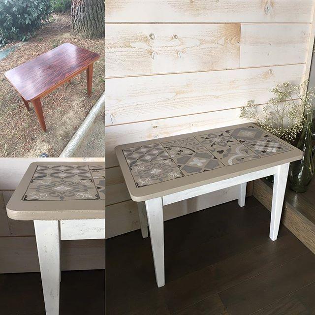 petite table basse relookee avec pieds effet shabby et. Black Bedroom Furniture Sets. Home Design Ideas
