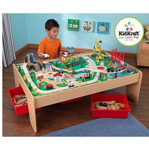 KidKraft Wooden Train Table With 3 Bins And 120 Piece Waterfall Mountain  Train Set