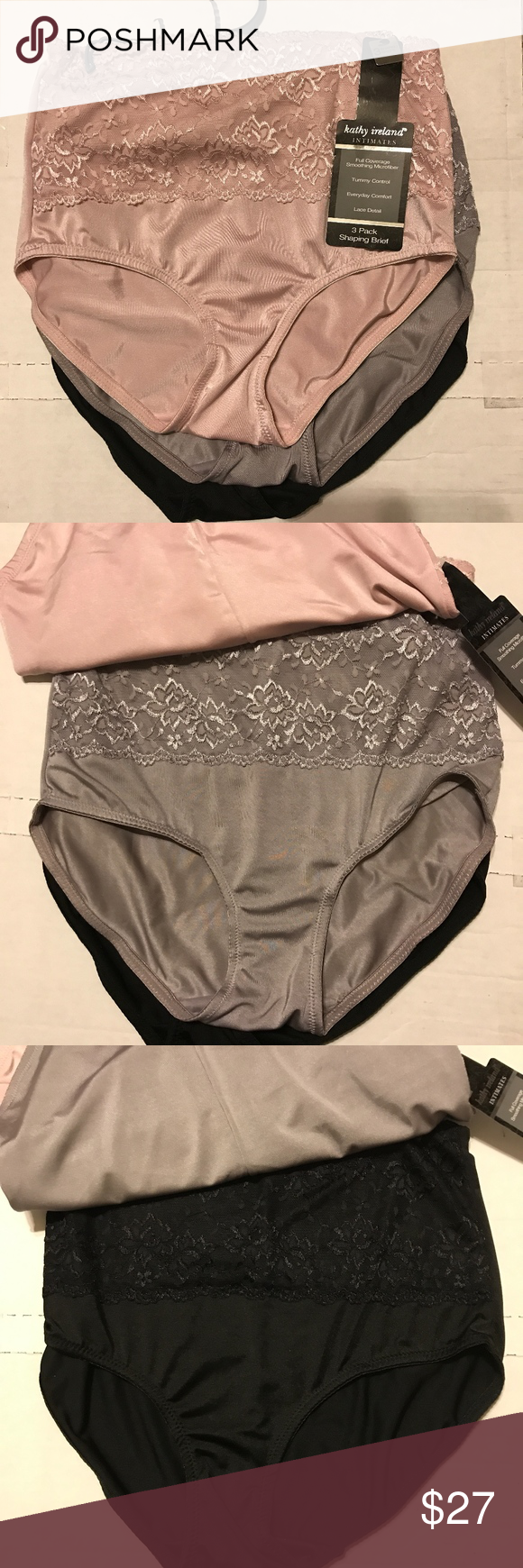 Kathy Ireland ~ Women/'s Brief Underwear Panties Pink Black Striped 5-Pair ~ 1X