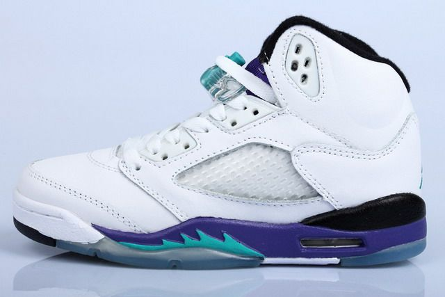 e48eeabdce27c4 Nike Air Jordan 5 V Retro LS Mens Shoes White   Emerald Green   Grape Ice