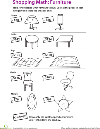 shopping with place value worksheets math and elementary math. Black Bedroom Furniture Sets. Home Design Ideas