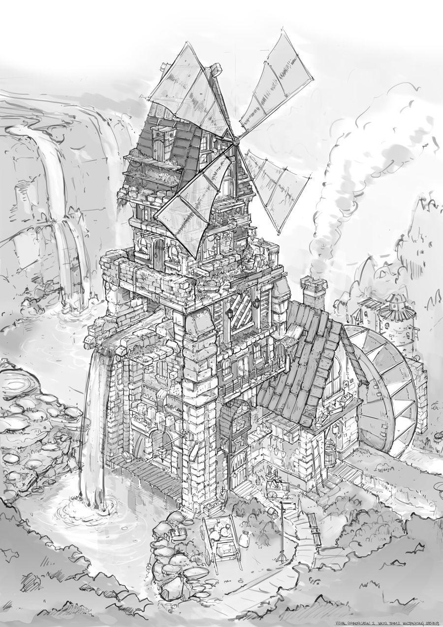 Feng Zhu Design Fantasy Scene Building Art Concept Art