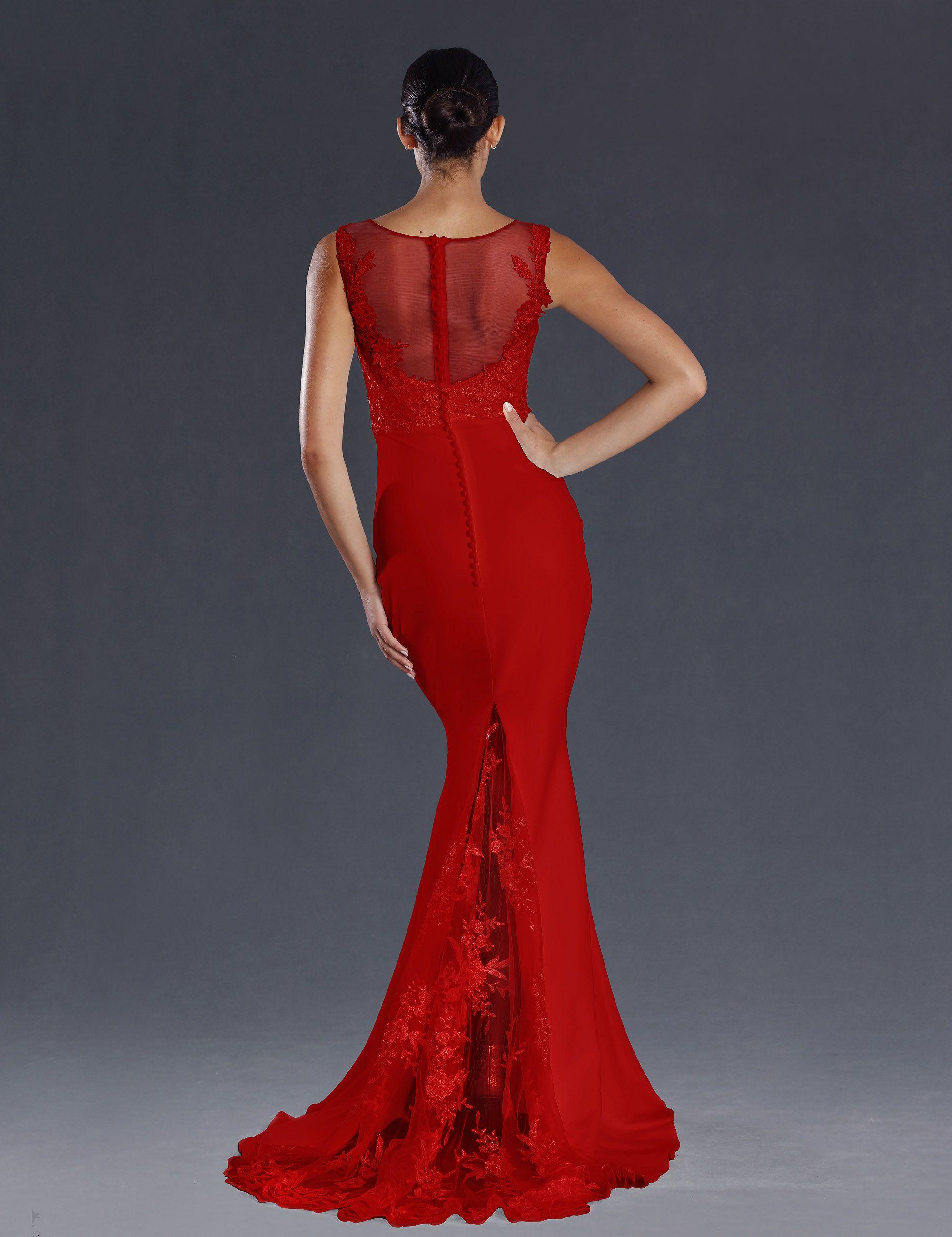 robe de soirée rouge evasée traine