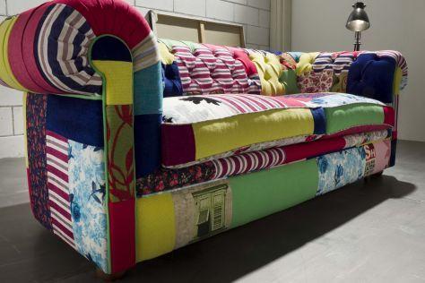 Divano Patchwork ~ Casa padrino chesterfield 3er sofa patchwork bunt wohnzimmer