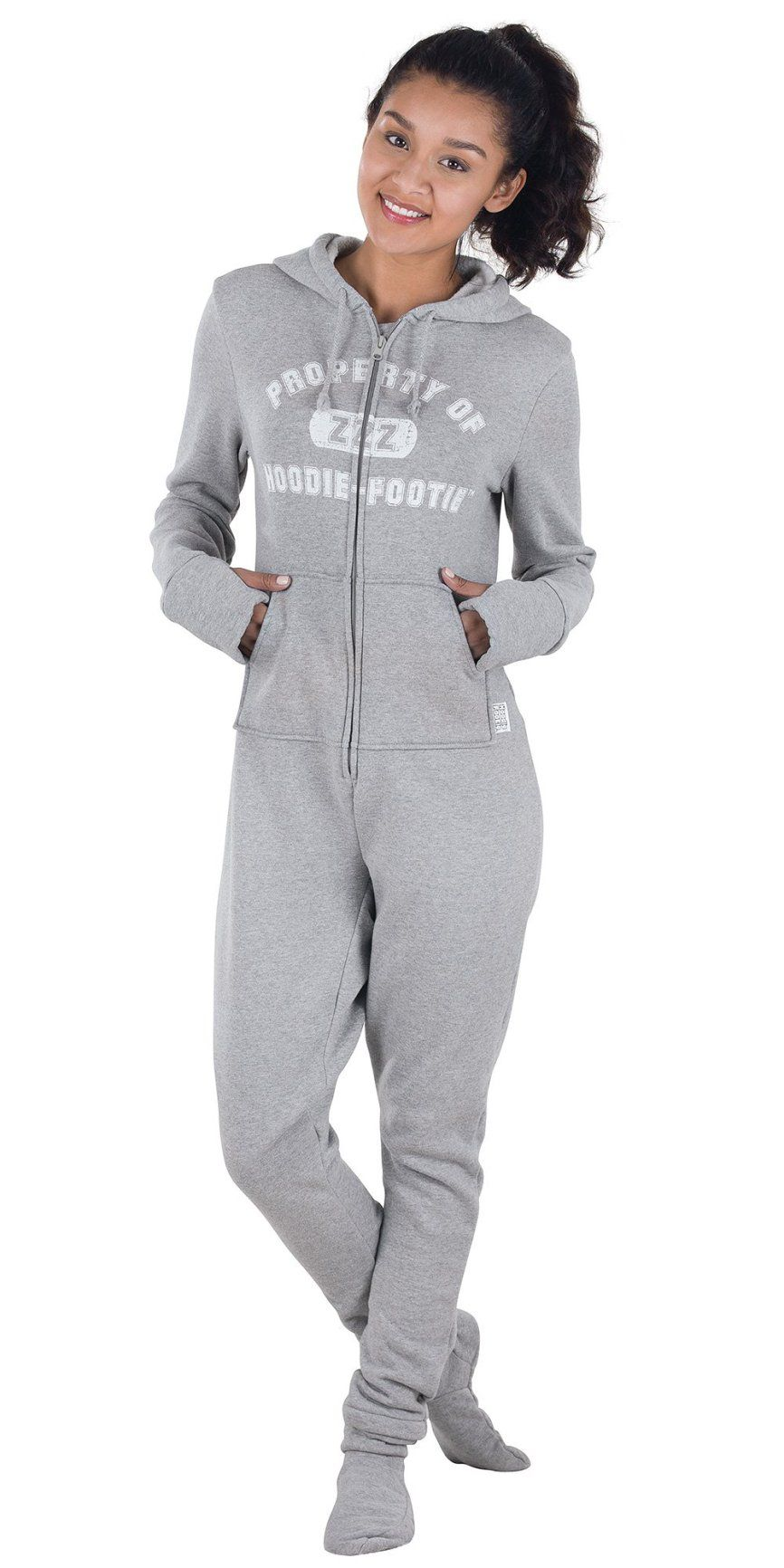40ff3b3f6c3 Gray Varsity Hooded Onsie Footed Fleece Pajamas for Women