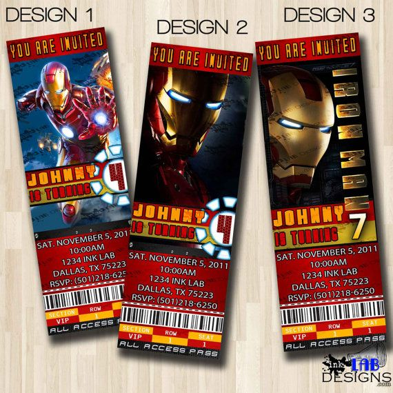 Iron Man Ticket Birthday Party Invitation Boy oh Boy Pinterest