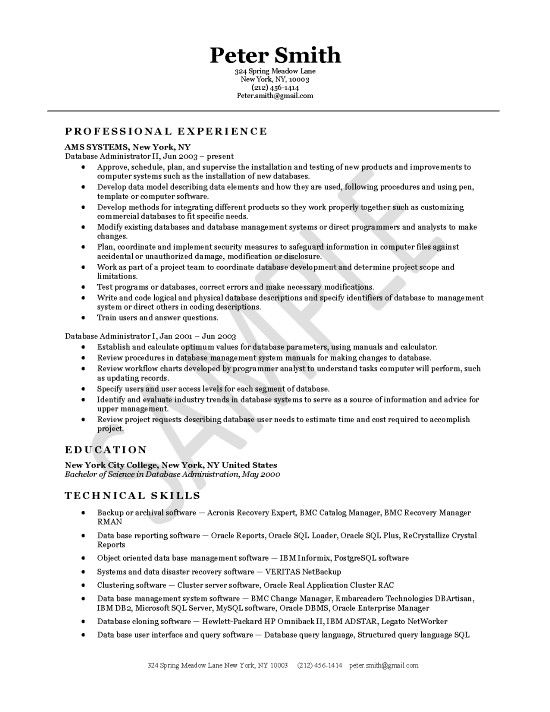Database Administrator Resume Example Resume Examples Pinterest