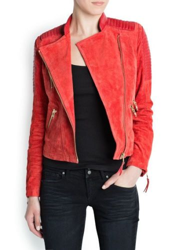 915aee18d2d7 MANGO RED COMBI LEATHER SUEDE BIKER JACKET. Love