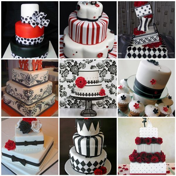 Black White Red Wedding Cakes
