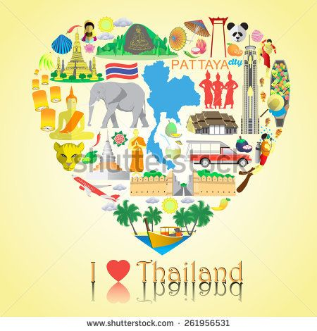 Thailand love. Set vector icons and symbols in form of heart