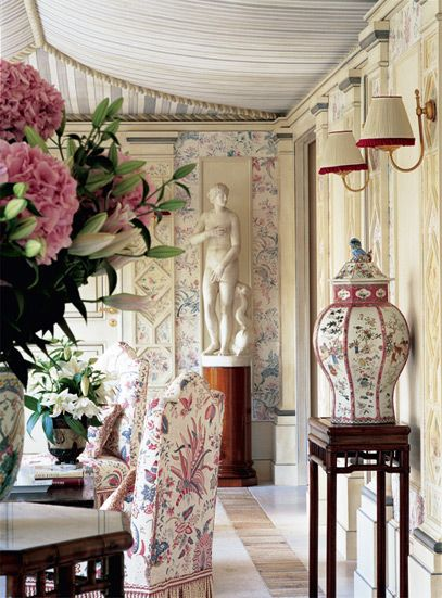 Red trimmed sconce shades, ginger jar, chair fabric, tented ceiling - chinoiserie gallery in a villa in Cap Ferrat from Celeste Dell'Anna